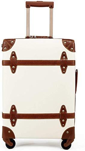 IFor Vintage Bagage Carryon koffer Reizen - Klassieke Trolley Bagage met Spinner Wheels, TSA Lock, Lichtgewicht, 20 inch, Beige