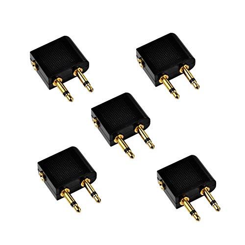 SIENOC Flugzeug Adapter Airline Adapter Gold überzogen Airline Airplane Flight Adapter für Kopfhörer (5 Stück)