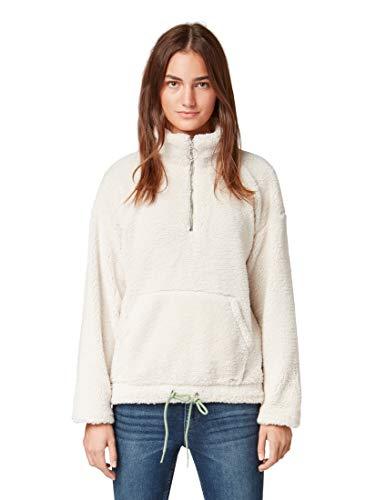TOM TAILOR Damen Teddy Sweater mit Zipper Sweatshirt, Beige (Cozy Beige 20617), Medium (Herstellergröße: M)