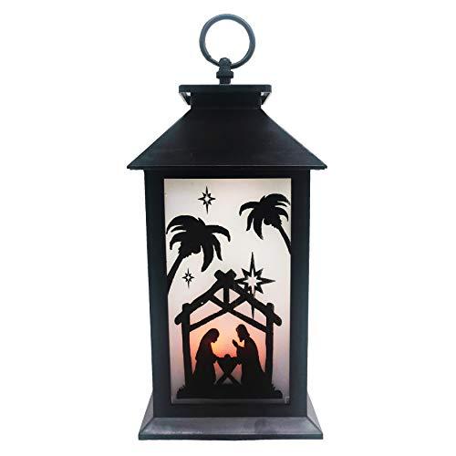 allgala LED Flame Effect Lantern Lamp-Nativity Scene-Christmas