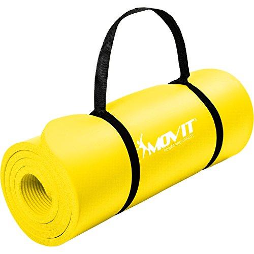 Movit Pilates Gymnastikmatte, Yogamatte, phthalatfrei, 183 x 60 x 1,0cm, Yoga Matte in Gelb