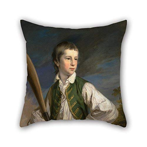 DKISEE Throw Pillow Case Oil Painting Francis Cotes - Charles Collyer As A Boy, with A Cricket Bat Square Canvas Decorative Double Sided Cushion Cover for Couch Sofa Home 20