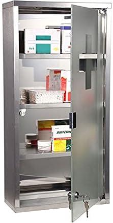 Homcom Armoire à pharmacie 3 étagères 30L x 12l x 60H cm porte verre trempé symbole croix acier inoxydable brossé 30