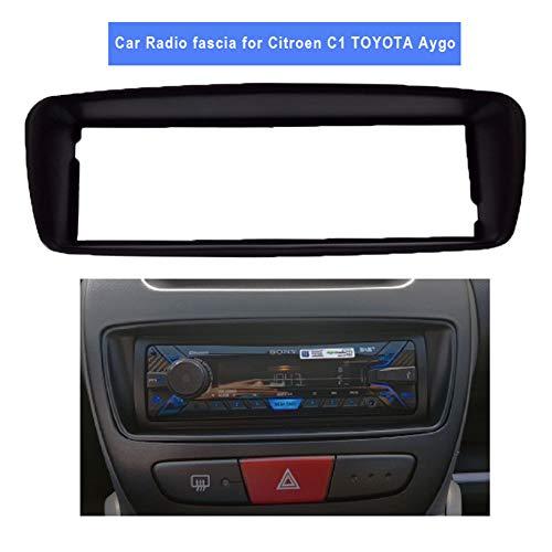 Preisvergleich Produktbild PSOIHGTFS EIN Din Autoradio Fascia Fit für Citroen C1 Aygo Peugeot 107 DVD Stereo-Panel Dash Montage Installation Trim Kit Rahmen Lünette, Schwarz