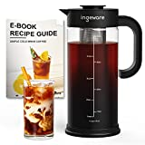 Ingeware Cold Brew Coffee Maker -1.4L/47oz Airtight Iced Coffee Maker, Iced Tea Maker with Removable Stainless Steel Filter, Easy Pour Spout - Large Thick Cold Coffee Brewer