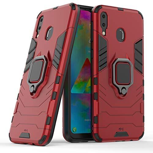 """Max Power Digital Funda para móvil Samsung Galaxy M20 (6.3"""") con Soporte Anillo Metálico - Carcasa Híbrida Antigolpes Resistente (Samsung Galaxy M20, Rojo)"""
