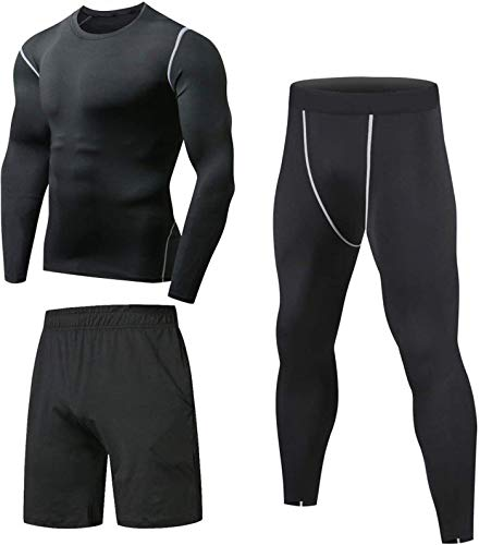 Niksa Sportbekleidung Herren Fitness Bekleidung Trainingsanzug 3pcs Set Fit elastische Sportwear Fitness Kompressionsshirt Langarmshirt Sporthose Leggings (Größe M Bust =90, Long Sleeve(163515)*D)