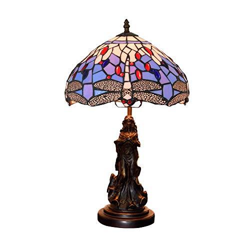 AWCVB 12 Pulgadas Tiffany Lámpara De Mesa Antigua Estilo Victoriano Lámpara De Noche E27 Hand Fabricación De Vidrios De Manchas Lámparas Luz Retro Lámparas De Escritorio