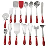 15-Piece Colorful Kitchen Cooking Utensils Tools Set All in One Tool and Gadget Set Stainless Steel All Purpose Spatula Balloon Whisk Basting Spoon Flat Whisk Cookware Set