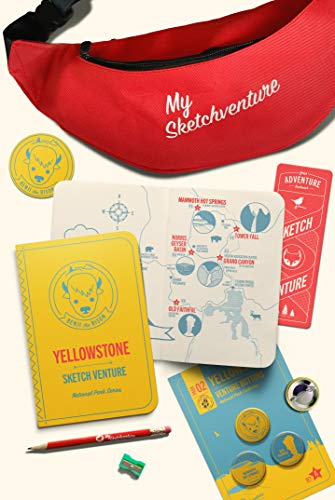 My Sketchventure Yellowstone National Park Kids Adventure Pack Fanny Pack for Hiking Gear, Travel Guide Book with Map, Trails & Nature for Drawing - Includes Button Pins for Backpack