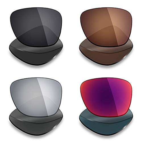 Mryok 4 Pares de Lentes polarizadas de Repuesto para Oakley Catalyst Sunglass – Stealth Negro/Bronce marrón/Plata Titanio/Midnight Sun