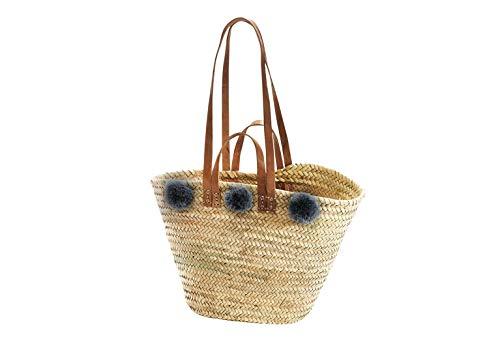 Kobolo Trendige Ibizatasche mit grauen Bommeln aus Palmblatt geflochten