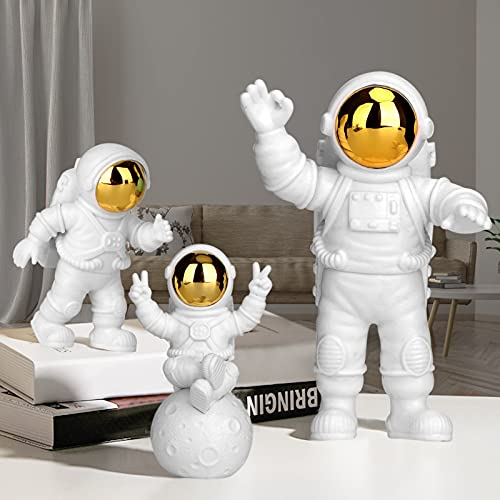 PANTSLIEN Adornos de Astronauta, Astronauta Figura, Astronauta Decoracion, Astronauta Resina, Decoración para Tartas, Adornos para Tartas, Regalo Decoracion Casa, Dorado 3pcs Set