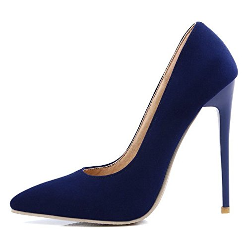 Smilice Women Dressy Pumps High Heel Stiletto Pointed Toe Shoes Occupational Style 9 Colors Available (Suede Blue, 43 EU)