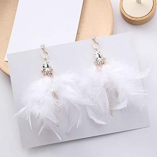 MUMUMI Ear Studs,Long Nature Earrings for Women Geometric Big Rhinestone Statement Earrings Fashion Jewelry Lady Eardrop,White