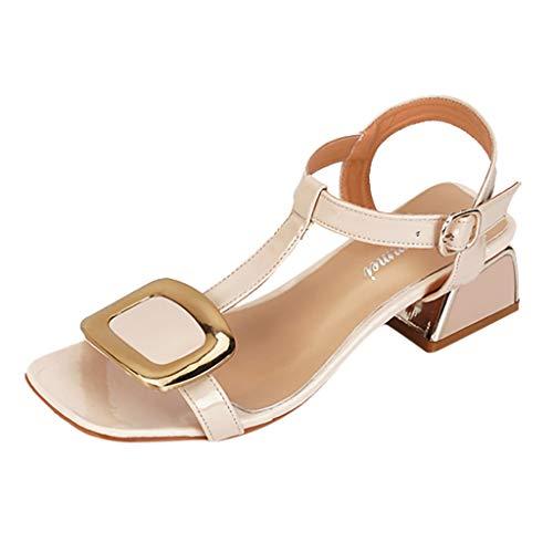 MRULIC Sommer Damen Sandals Fashion High Heels Belt Buckle Sandals Casual Roman Sandals Prinzessin Schuhe mit Kleid Abgestimmt(Beige,41 EU)