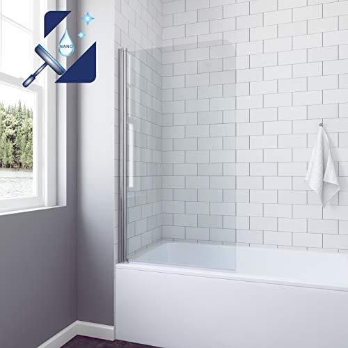 AQUABATOS® 80 x 140 cm Badewannenaufsatz Duschtrennwand für Badewanne Dusche Duschwand Glas aus 5 mm Einscheiben Sicherheitsglas Echtglas Nano Beschichtung