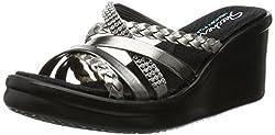 commercial Skechers Cali Rumblers-Social Butterfly Women's Wedge Sandals, Pewter Rhinestones, $ 9 Million skechers beach sandals