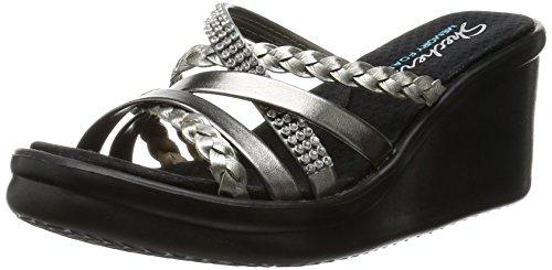 Skechers Cali Women's Rumbers-Wild Child Wedge Sandal,Pewter Rhinestone,6.5 M US