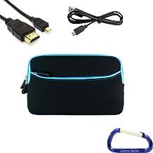 Gizmo Dorks Soft Neoprene Zipper Case (Black with Blue Trim), Mini USB, and Micro HDMI Cable for The Pandigital Nova 7 inch Tablet eReader