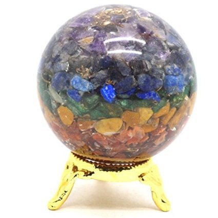 Healing Crystals India Chakra Orgone Sphere - Spiritual Reiki Healing Quartz Crystal Stones - 7 Energy Charged Orgone Sphere