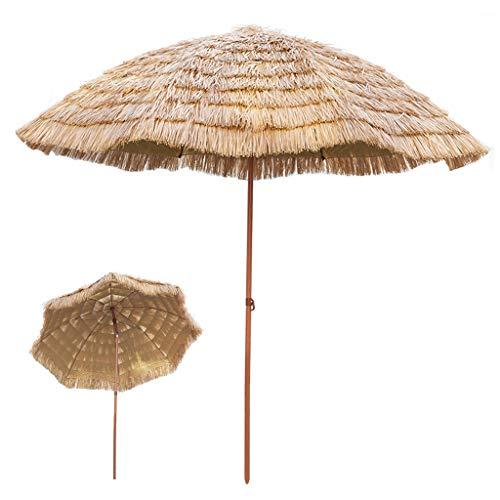 Parasol ZMLQ Sombrilla con Flecos De Rafia para Jardín Al Aire Libre Patio Playa Sombrilla De Paja De Hula Hawaiana De 2,1 M De Diámetro, Inclinable/Redondo/Color Natural