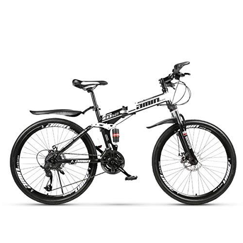 BaisdSport Bicicleta de montaña de 26 Pulgadas, Plegable Bicicleta de Montaña con Amortiguador, Ejercicio de Ciclismo Al Aire Libre 21/24/27/30- Velocidad/40 Radios,White,30-Speed