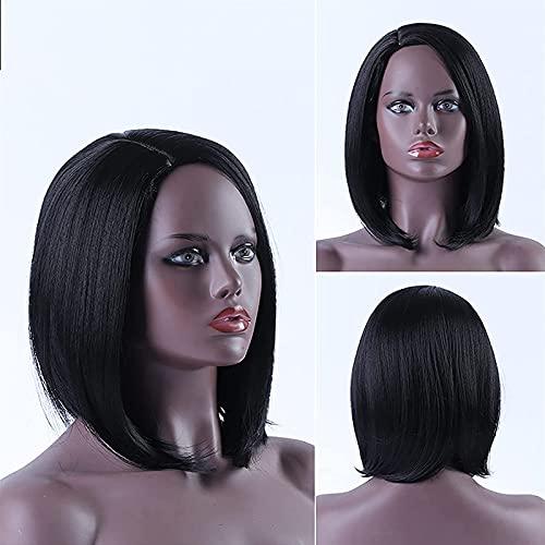 PIAOLIGN Peluca corta Bob peluca sin flequillo longitud del hombro de las mujeres recta pelo corto sinttico resistente al calor Fibra colorido traje Pelucas Cosplay peluca 14 pulgadas negro natural