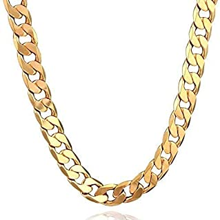 Syshion 18K Gold Plated Men Chain Necklace Figaro Punk Style Jewelry,12mm
