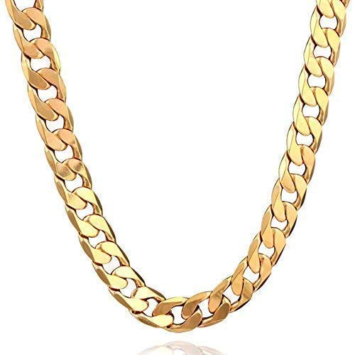ee0d52b3ce5820 18K Plated Men Gold Chain Necklace Figaro Punk Style Jewelry,0.5inch width  - 24inch
