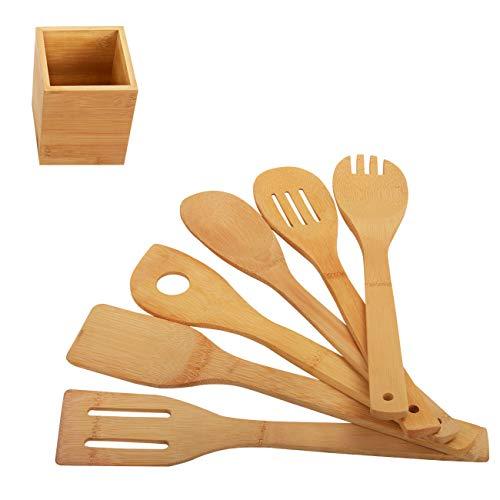 Pfannenwender Kochlöffel Küchenhelfer Küchenzubehör Holz Set - Wender aus Bambus 7 Stück