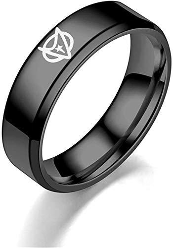 Stilvolle Einfachheit Edelstahl Star Trek Ring Doppelt Abgeschrägte Atmosphäre Neuer Paar Ring, 6 Mm Schwarz Größe L, LQS, 6mm schwarz, L