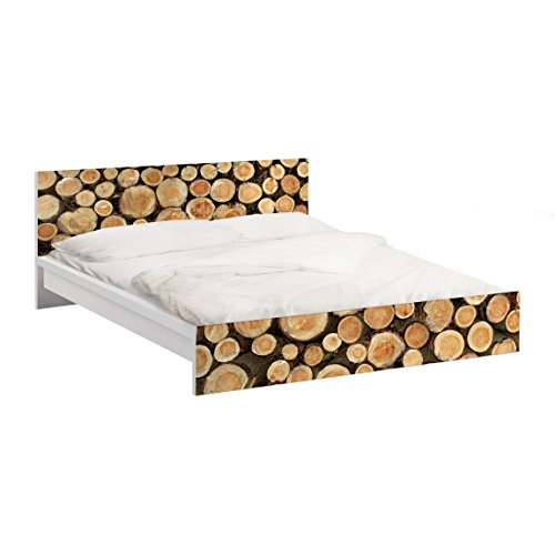 Apalis Vinilo Adhesivo para Muebles IKEA - Malm Bed Low 140x200cm No.YK18 logs, Größe:77cm x 157cm