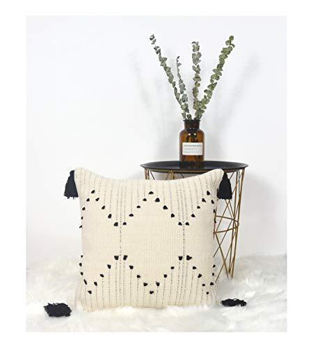 LIGICKY Kissenbezug Boho Büschelige Dekorative Kissenbezüge Getuftet Quaste Weich Kissenhülle Baumwolle für Sofa Couch Schlafzimmer Wohnzimmer Büro Auto (18 * 18 inch