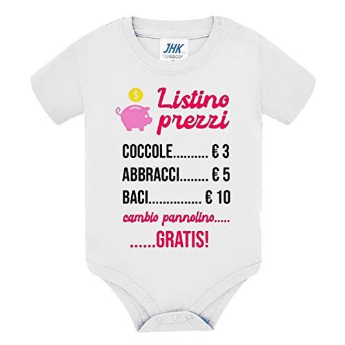 Body Bimbo o Bimba Neonati Bebè Pagliaccetto Listino Prezzi Divertente, Coccole abbracci Baci. Cambio Pannolino Gratis! Idea Regalo! Scritte Rosa! (0-3 Mesi)