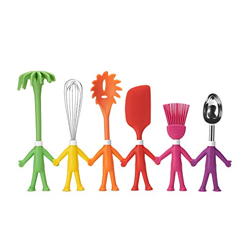 Human-Shaped Kitchen Utensils Set – 6 Heat-Resistant, Non-Stick Kitchen Gadgets/Baking Tools – BPA-Free Silicone Spatula, Potato Masher, Whisk, Ice Cream Scoop, Basting Brush, & Pasta Fork by Centervs