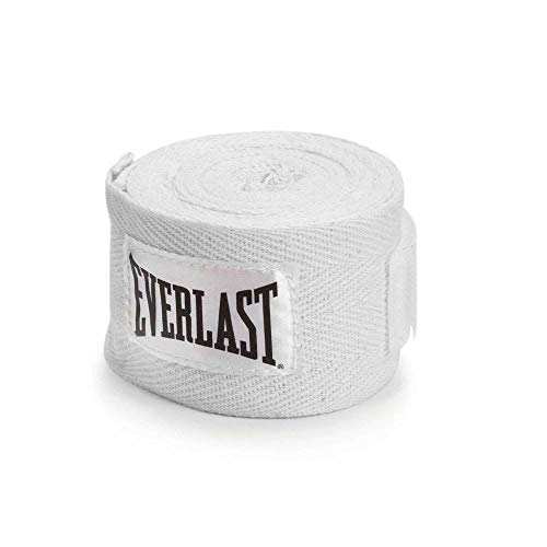 Everlast Plastic 11 Foot Speed Jump Rope and 120 Inch Boxing Hand Wraps, White