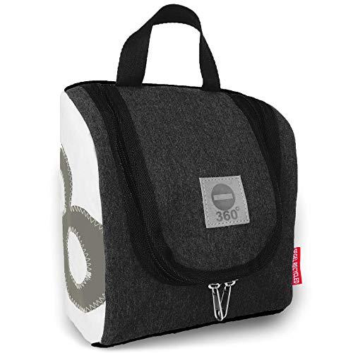 360° Grad Exclusiv-Kollektion Kulturbeutel zum Aufhängen/Kosmetik-Tasche aus Segeltuch Damen/Herren/Unisex Matrose XL anthrazit-grau/weiß mit Zahl hell-grau, wasserabweisend