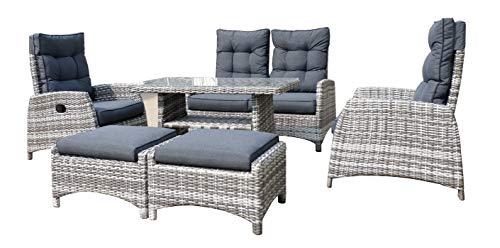 Mandalika Garden Extra hohe Dining Poly Rattan Lounge Skara Braun-Grau mit separat Verstellbarer Rückenlehne