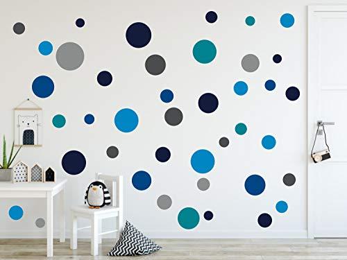 timalo® 73078, 120 adesivi da parete, per cameretta dei bambini, puntini adesivi a forma di cerchio, colori pastello, Blu