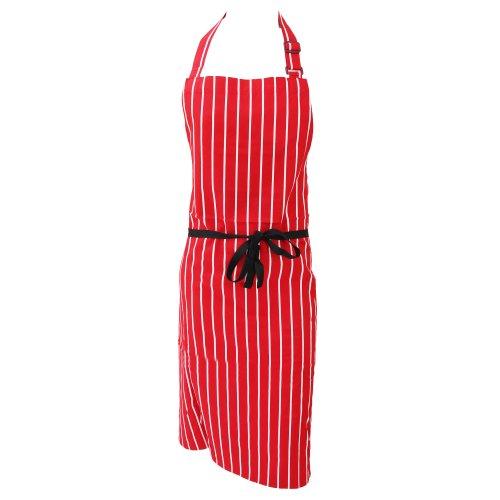 Dennys Unisex Baumwoll Küchenschürze mit Streifen (Einheitsgröße) (Rot/Weiß)