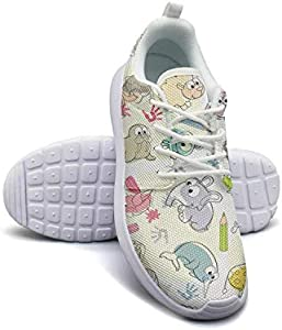 Websi Wihey Women's Athleisure Sneakers Watercolor Giraffe Elephant Penguin Ultra Lightweight Breathable Mesh Christmas Fashion Shoes