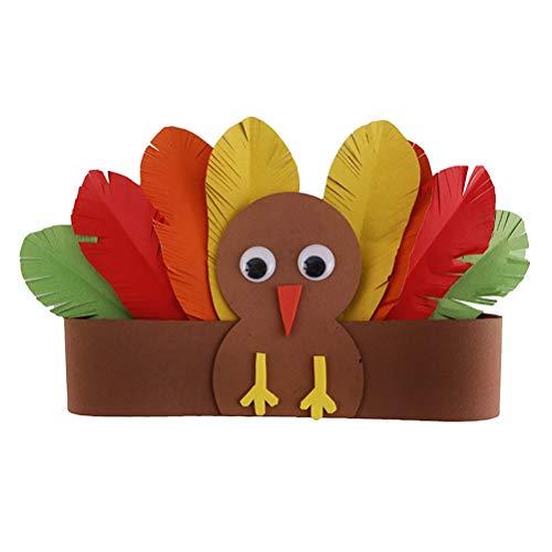 Amosfun Kinder Türkei Hut pädagogisches Zubehör elastische DIY handgemachte Handwerk Thanksgiving Dekoration