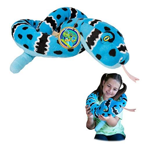 EcoBuddiez Sssnakes - Serpiente Azul de Cascabel de Deluxebase. Serpiente Peluche de 140cm. Peluches Grandes y Suaves Hechos de Botellas de plástico Reciclado. Perfecto Regalo ecológico para niños.