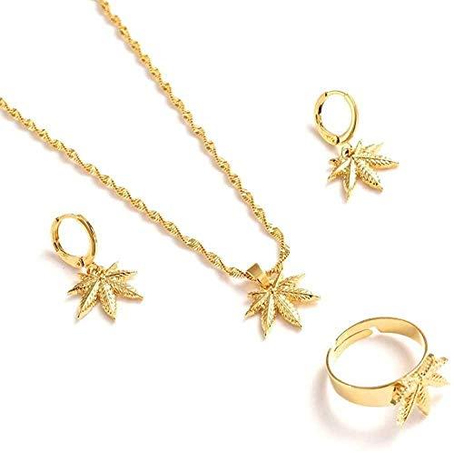 NC110 Conjunto de Collar con Colgante de Pendientes de Oro, Regalo de Fiesta para Mujer, dijes, Regalo para Mujer, joyería de Boda para niñas, YUAHJIGE