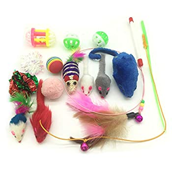 PietyPet Jouets Chat, Jouet pour Chat Animaux Domestiques Toys pour Chat Chaton Minou, 15 pièces
