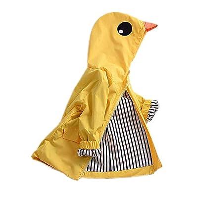 Toddler Kids Boy Girl Animal Raincoat Cute Cartoon Jacket Hooded Outwear Baby Fall Winter School Oufits (Yellow, 90 (2T))