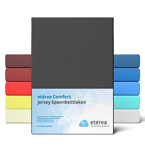 etérea Comfort Jersey Fitted Sheet 200 x 200 to 200 x 220 cm Soft 100% Cotton Flat Sheet with Approx. 25 cm Base Height and 140 g/m² Black