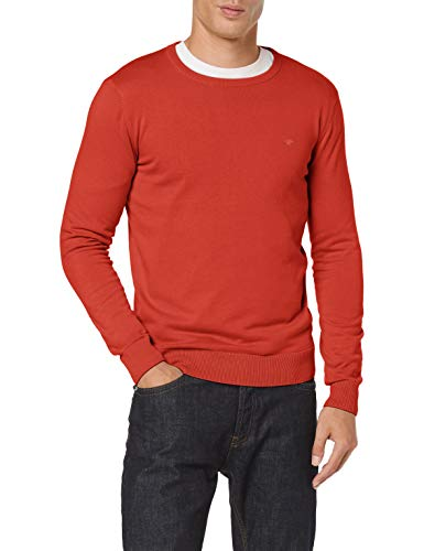 TOM TAILOR Herren Basic Rundhalspullover\' Pullover, 24247 - Heated Orange Melang, XXL EU