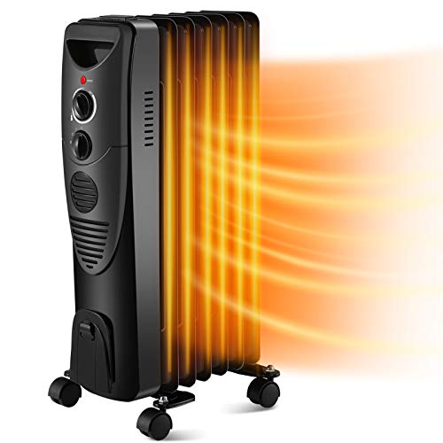 Kismile 1500W Oil-Filled Radiator Heater, Oil Heater with 3 Heat Settings, Heater with Adjustable Thermostat, Overheat & Tip-Over Protection, Portable Safety Features for Home Office (Black)
